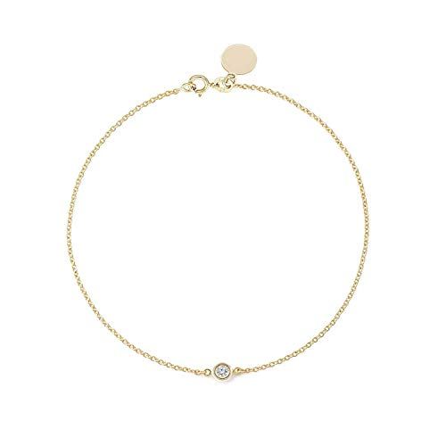 (TousiAttar Solitaire Diamond Bracelet - Solid Yellow Gold-14K or 18K - Dainty and Simple Solitaire Bezel Set - Free Engraving - Graceful Gift- Minimalist Jewelry)