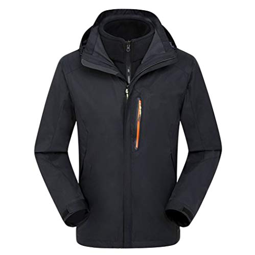 Con Tre Due Cappotto A Pezzi Black Fodera Alpinismo Esterno Caccia Abbigliamento Ispessimento Giacca Per Jingrong Cappuccio In Zqg7zP
