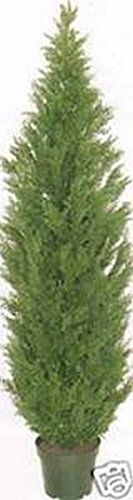 (One 5 Foot Artificial Topiary Cedar Tree Potted Indoor Outdoor Plant)