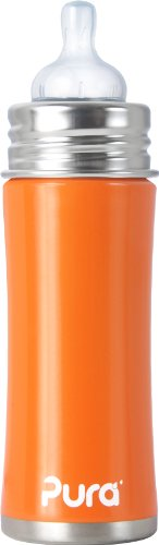 Pura Kiki Stainless Infant Bottle Stainless Steel with Natural Vent Nipple, 11 Ounce, Orange, 3 Months+