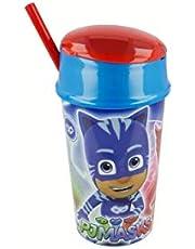 ALMACENESADAN 2615; Vaso Snack PJ Masks; Capacidad 400 ml; Producto de plástico; Libre BPA; diametro 8,4 cm, Altura 18,7 cm