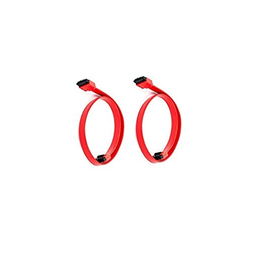 C&E 2 Pack 18inch SATA 6Gbps Cable w/Locking Latch - Red, CNE11445