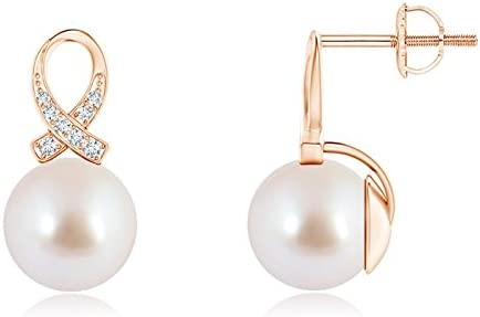 Cyber lunes–trenzado Akoya perla cultivada de solitario pendientes para las mujeres con diamantes cinta (8mm Akoya perla cultivada)