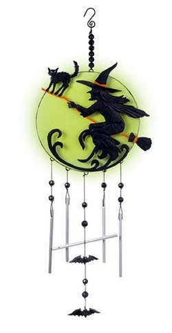 witch moon halloween glow in the dark hanging wind chimes decoration