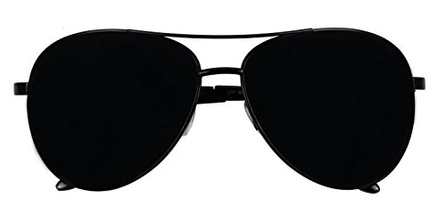 Basik Eyewear - Oversized Wide Frame Pilot Metal Aviator Sunglasses w/ Super Dark Black Lens (Black Frame, 147) (Pilot Metal Sunglasses)