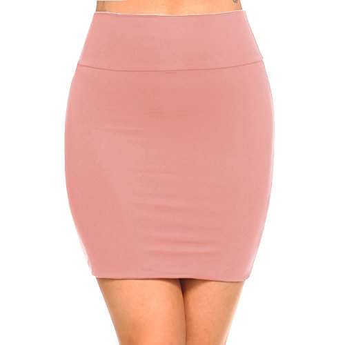 - Fashionazzle Women's Casual Stretchy Bodycon Pencil Mini Skirt (Medium, KS06-Pink/Spandex)