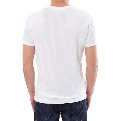 Pervobs Men's Basic White T-Shirt Spring Summer Personality Printing Sleeve O-Neck Short T-Shirt Top Blouse Regular Fit(M, White B) by Pervobs Mens T-Shirts (Image #2)