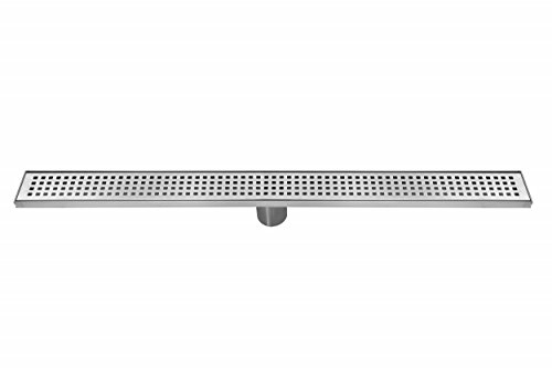 - DreamDrain Linear Shower Drain Squares, 100 Percent Stainless Steel, 9 Gallons Per Minute, Easy-to-Remove Tray, 2-Inch-Diameter Outlet, 10-Year Warranty, Ready to Install, Beautiful Drain, 36 Inch