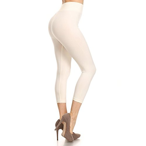 TZ Promise for Women Girls Flexible Capri Solid Color Yoga Leggings Pants One Size (Cream) ()