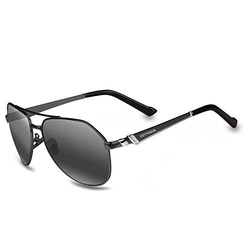 VEITHDIA 3559 HD Visual UV400 Polarized Aviator Sunglasses for Fishing Driving (Black, - Sunglasses Prescription Discount Online