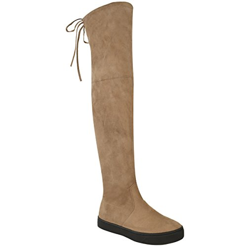 Lace Thigh Brown Suede Size Boots Flat Low Womens Slouch Knee Faux Fashion Over Thirsty The Heel Mocha Up High gnx1q
