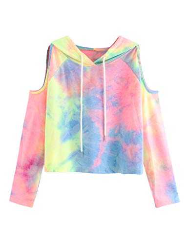 SweatyRocks Women's Cold Shoulder Tie Dye Pullover Hoodie Crop Top Sweatshirt Tie-Dyed #2 L