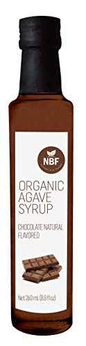 NATURA BIOFOODS 100% certified Organic Natural Flavors Blue Agave Nectar, Agave Syrup Sweetener, Chocolate, Almond, Vanilla, Strawberry, Gluten Free, Vegan, Low-Glycemic Index. (Chocolate, Small)