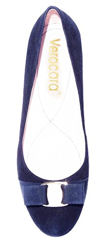 Tacco Piatto Donna Verocara Punta Tonda Con Cinturino In Vera Pelle Balleria Casual Per La Festa Della Sposa In Camoscio C-navy