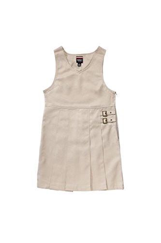 French Toast Big Girls' Double Buckle Tab Jumper, Khaki, 7 - Buckle Tab