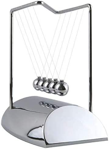 Aryellys 7.5 Newtons Cradle Z Shape Newton Cradle Perfect Desk Toys Physics Toys 7 Metal Pendulum Balls with Chrome Base