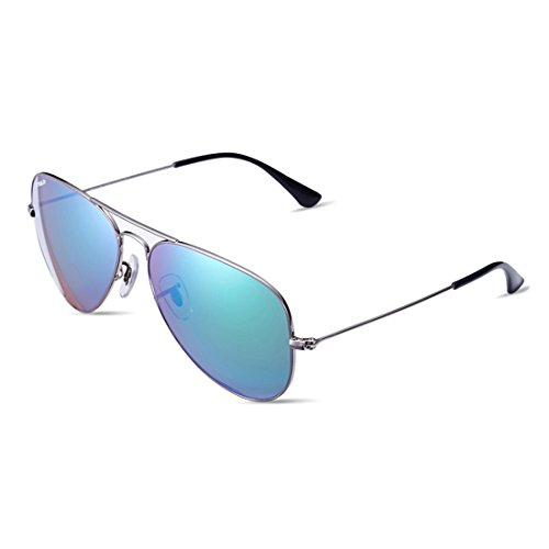 Okeepar Cool Fashion Sunglasses For Men and Women UV400 Lens Polarized Full Flash Mirror Sunglasses with Metal Frame, Aviator Outdoor Driving Sunglasses -Silver - Blue Ii Light Mirror Ray Aviator