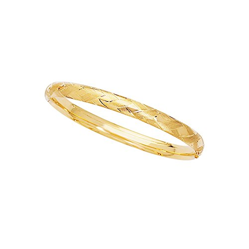 14K Yellow Gold Shiny Textured Sparkle 6mm wide Bangle 8'' Bracelet with Diamond Shape Pattern with Clasp by Luxurman