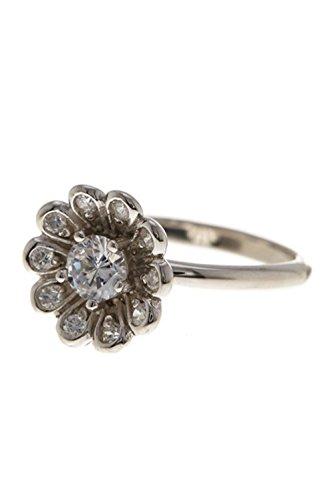 ADORNIA Flower Power Ring silver with swarovski crystal ()