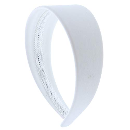 White 2 Inch Wide Leather Like Headband Solid Hair band for Women and Girls]()