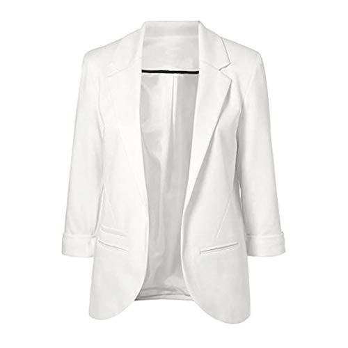 Women Candy-Color Three Quarter Sleeve Suit Solid Ponte Rolled Blazer Coat White
