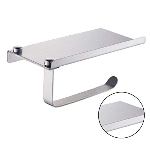 Wall Mounted Toilet Paper Holders, Durable Anti-Rust Portable Paper Rack with Shelf for Kitchen and Bathroom - Mirror