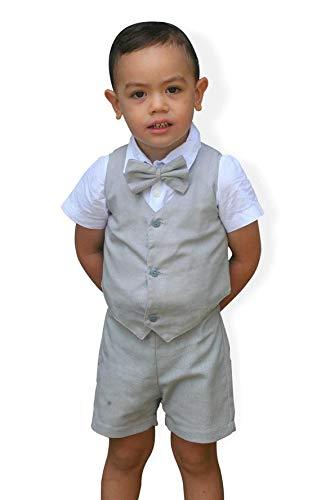 bcfca069fce Amazon.com  3pcs Boy Suspender Shorts Outfit - Light grey