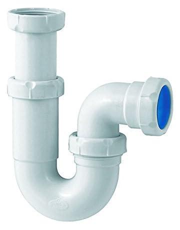 JUEYAN Sif/ón Tubo Trampa de Olores del Tubo Conjunto de Drenaje V2A de Acero Inoxidable Cromado para Fregaderos y Lavabos