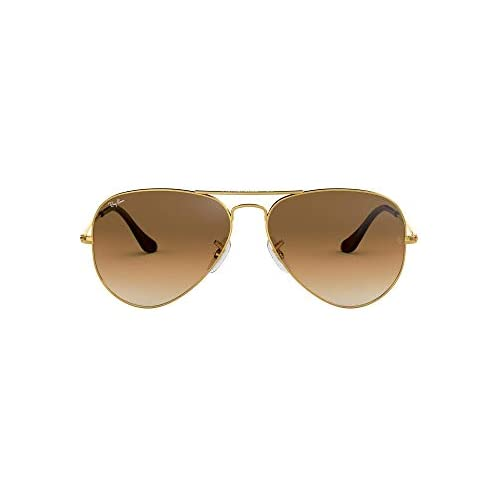 chollos oferta descuentos barato Ray Ban Aviator Large Metal Gafas de sol Unisex Dorado Crystal Brown Gradient Glass 55 milímetros