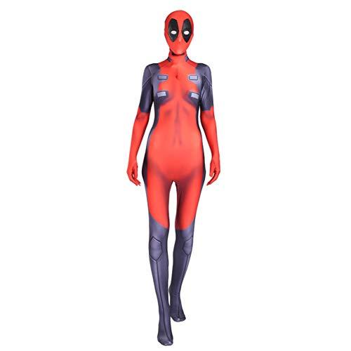White Set Deadpool Costume,Cosplay Lady Captain Suit Halloween Costume Spandex Bodysuit Zentai Orange