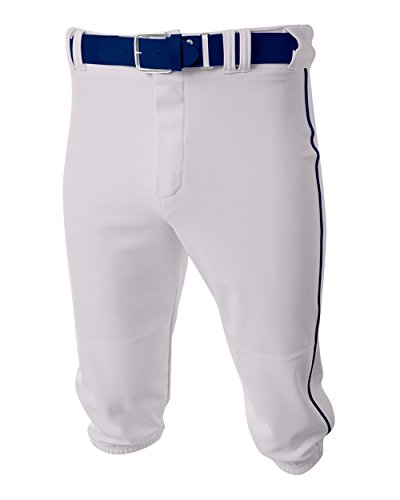 A4 Sportswear Baseball/Softball Knee High Pants White/Navy Side Piping Adult Large Old School Knickers