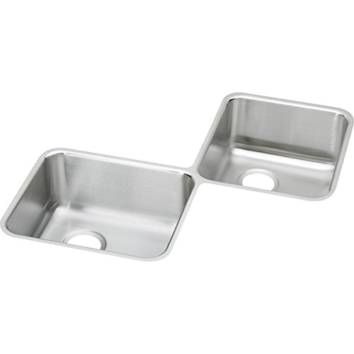 32' Offset Double Bowl - Elkay ELUH3232 Lustertone Classic Equal Double Bowl Stainless Steel Corner Sink