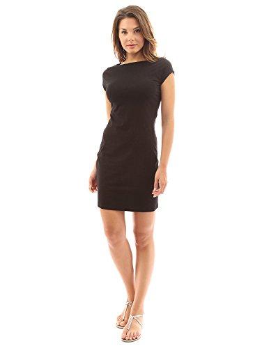 PattyBoutik Women Boat Neck Cap Sleeve Dress (Black Medium)