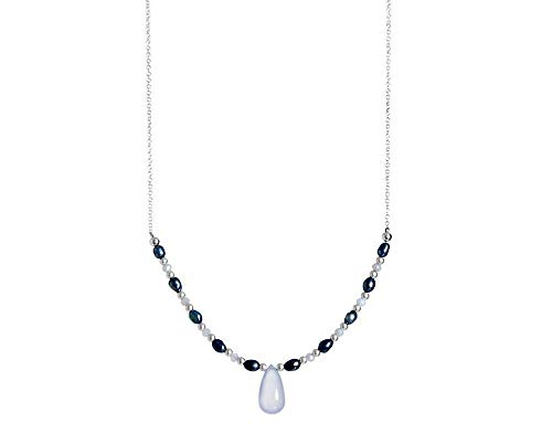 Chalcedony Drop Pendant - Pearl and Sterling Beaded Necklace with Blue Chalcedony Drop Pendant 16