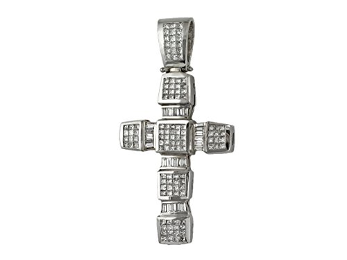 "8.30ct Diamonds 18K White Gold Heavy Large Chunky Cross Pendant - 3""x1.5"" inches"