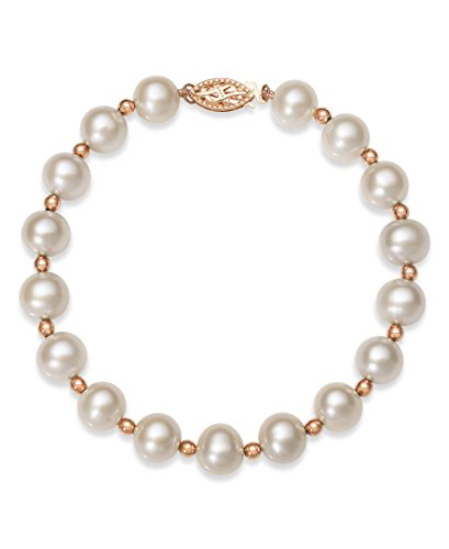 Freshwater Bracelet Pearl Shape (14k Rose Gold 8.0-8.5mm Genuine Cultured Freshwater Pearl Strand Bracelet,7.5