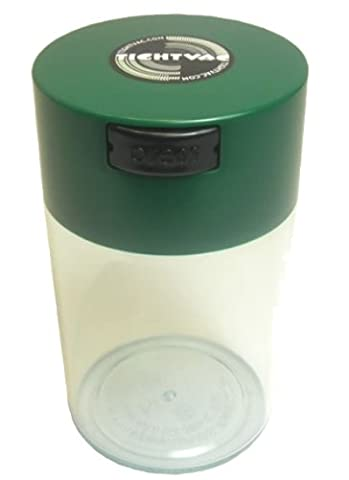 Tightvac - 1 to 6 oz Vacuum Sealed Storage Container, Green Cap & Clear Body (Tightvac 4 Ounce)