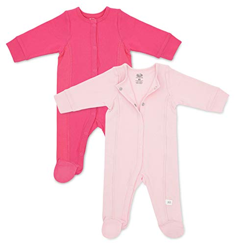 - Fruit of the Loom Baby Grow & Fit Sleep and Play - Footed Pajamas 2-Pack (Pink, 0-6 Months)