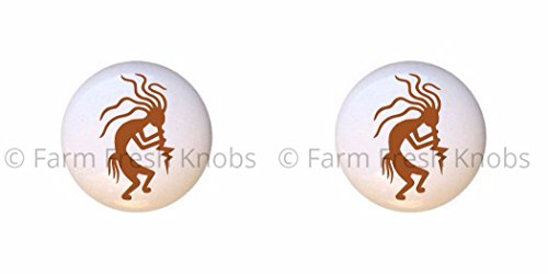 SET OF 2 KNOBS - Kokopelli Design #006 Brown - Kokopelli Flute God - DECORATIVE Glossy CERAMIC Cupboard Cabinet PULLS Dresser Drawer (Kokopelli Cabinet Knob)