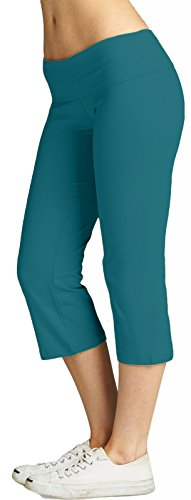 ToBeInStyle Women's Cropped Yoga Sweatpants Bermuda Capris w/ Fold Over Waistband (Small, (Fold Over Cropped Pant)