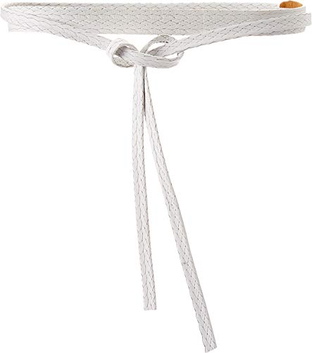 (ADA Collection Women's Skinny Wrap Belt White Ostrich One Size)