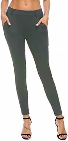 3d2bd3e5e10574 Bamans Women's Yoga Dress Pants Tummy Control Pull On 4 Way Stretch Skinny  Slim Leggings