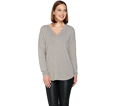Lisa Rinna Collection Long Slv Hi Low Cocoon Knit Top Frost Grey 1X New A278935