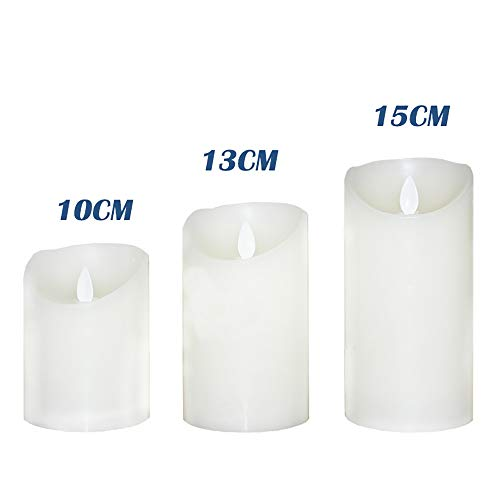 Flameless Candles Electric with Rechargeable Battery (Autbye 2018 Advanced Edition) Extra Bright Ivory 3 Pack 4'' 5'' 6'' Dripless Real Wax Pillars LED Smart Candle Flickering with 10-Key Remote Control by Autbye (Image #3)