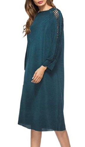 Out Length Solid Blue Coolred Mid Dress Casual Hollow Women's Knee Splice nUxxAFw
