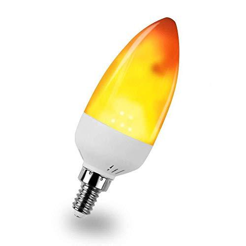 KINDEEP 1 Mode LED Flame Light Bulb, E12 Base Fire Flickering Emulation Candelabra for Decoration, 2W (1300K Warm White) Pack of 1