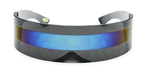 Futuristic Black Shield Sunglasses Cyclops Monoblock Blue Mirror Lens