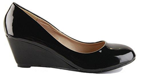 Ladies Wedge Shoes Smart Pumps Wedges High Heel Classic Court Platform Size - shoeFashionista Branded black patent YwOC4