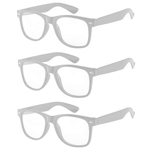OWL - Non Prescription Glasses - Clear Lens White Frame - UV Protection (3 Pack)