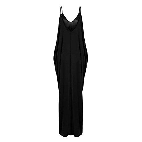 Fit Strap TM Loose Boho neck V Overall Black Sleeveless BetterGirl Dress Womens gqSSTf